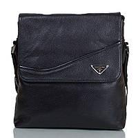 Мужская кожаная сумка через плечо с карманом для нетбука, планшет Трейд TOFIONNO (ТОФИОННО) TU1037-black