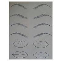 Тренировочный коврик для перм макияжа брови, губы с маркировкой