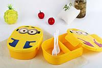 Ланч бокс Миньон Minions, контейнер для еды Миньон + ложечка