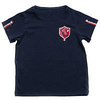 Детская футболка для мальчика темно-синяя  размер 92-122