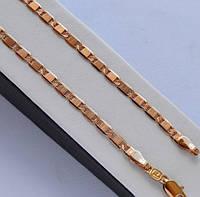 Цепочка покрытие золотом 18к. плетение картье с поперечными насечками 45 см.