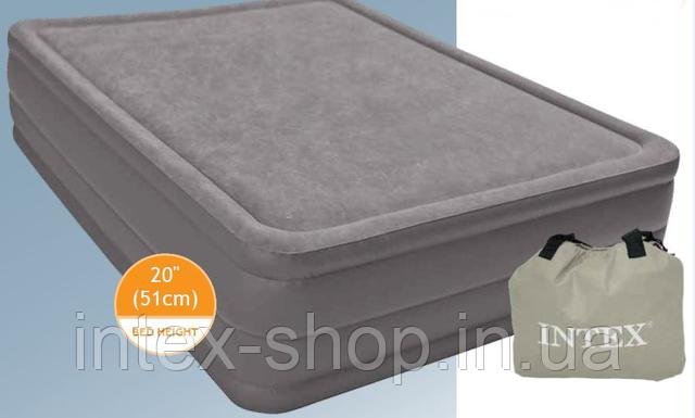 """Надувная кровать """"Intex Foam Top Bed"""" 67954  203 х 152 х 51 см.+ встроенный электронасос"""