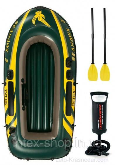 Двухместная надувная лодка Intex 68347 Seahawk-2 Set + пластиковые весла и насос.