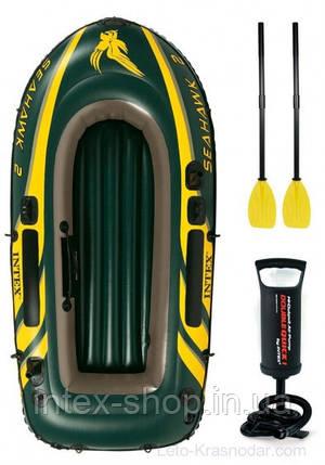 Двухместная надувная лодка Intex 68347 Seahawk-2 Set + пластиковые весла и насос., фото 2