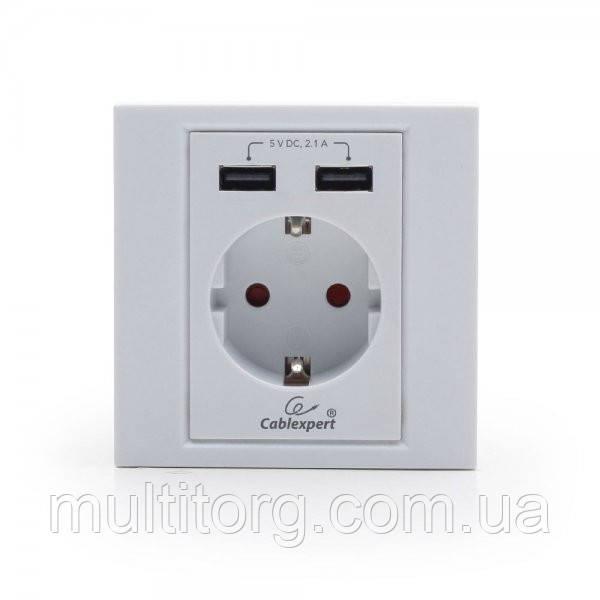 Розетка з USB зарядкою Cablexpert MWS-ACUSB2-01