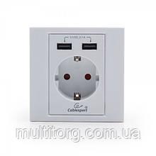 Розетка с USB зарядкой Cablexpert MWS-ACUSB2-01