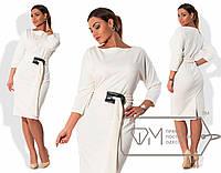 Элегантное платье миди с поясом на батальную фигуру