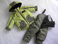 """Зимний комбинезон и куртка для мальчика """"Оливковый"""" р. 80 см.86 см.92 см."""