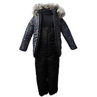 """Детский зимний полукомбинезон и куртка """"Аляска"""" с меховой опушкой для мальчика"""