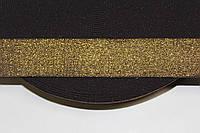 Резинка декоративная 30мм, черный+золото  , фото 1