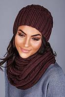Шапка и шарф женский темно-шоколадный цвет