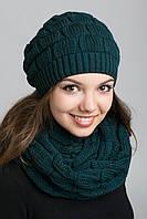 Берет женский и шарф женский зеленый цвет