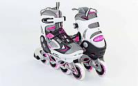 Роликовые коньки детские ZELART Z-636P (PL, PVC, колесо PU, алюм. рама, розовый)