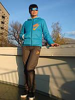 Зимний костюм женский NIKE голубая куртка серые брюки с капюшоном наполнитель тинсулейт