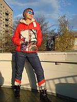 Зимний костюм женский красный с капюшоном куртка на меху наполнитель тинсулейт