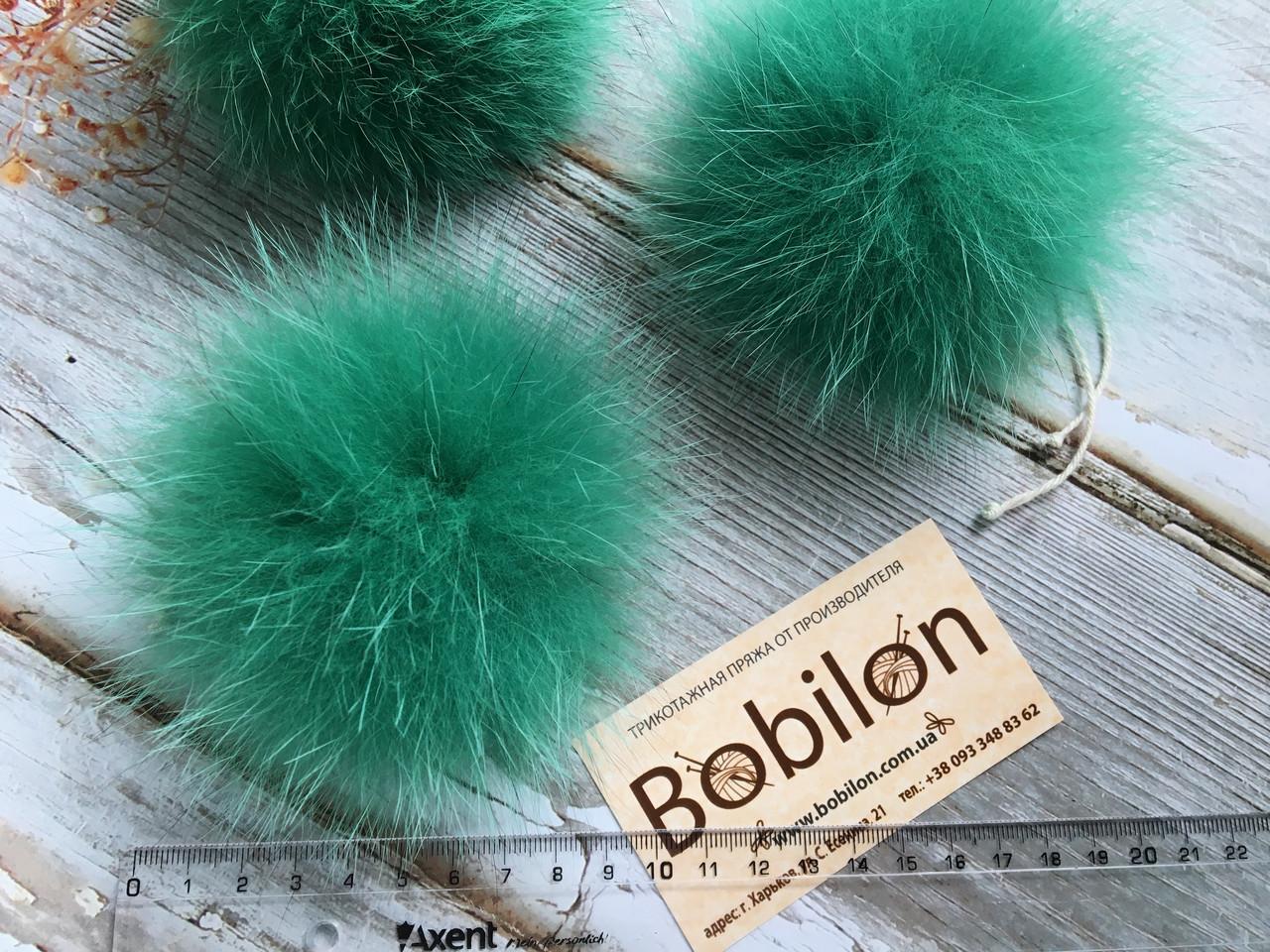 6bd52a4f4fbf Меховые помпоны из меха песца, цвет зеленый - Интернет-магазин трикотажной  пряжи Bobilon в