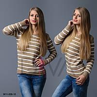 Бежевый свитер женский полосатый  W11-526-10