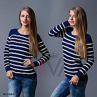 Синий свитер женский полосатый  W11-526-2