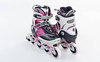 Роликовые коньки детские ZELART Z-638P (PL, PVC,колесо PU,алюм. рама, розовый)