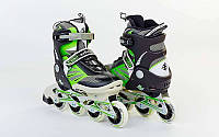 Роликовые коньки детские ZELART Z-638G (PL, PVC,колесо PU,алюм. рама, зеленые)