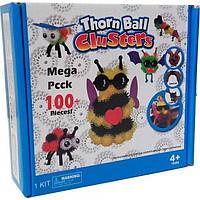 """Мягкий конструктор липучка Bunchems 100 """"Вязкий пушистый шарик"""", шарики липучки, интерактивный, Банчемс"""