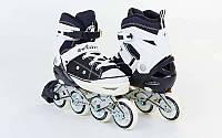 Роликовые коньки детские ZELART Z-823BK (PL, PVC,колесо PU,алюм. рама, черный)