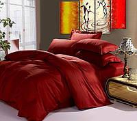 Постельное белье полуторное Wine Red 145х220см Сатин однотонный