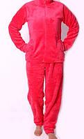 Пижама махровая на замке коралово-красная