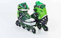 Роликовые коньки детские ZELART FOLIAGE Z-9001G (PL, PVC,колесо PU,алюм. рама, зеленый), фото 1