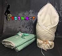 Конверт для новорожденных на выписку и в коляску теплый молочный вязка на меху, фото 1