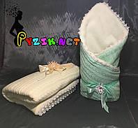 Конверт для новорожденных на выписку и в коляску теплый салатовый вязка на меху, фото 1