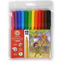 Фломастеры KOH-I-NOOR Fibre pens 1002, 12 colors, polyethylene (771002AB01TE)