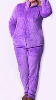 Пижама махровая на замке сиреневая
