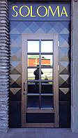 Дверь входная шпонированная со стеклопакетом