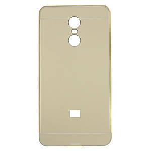 Чехол бампер для Xiaomi Redmi Pro металлический со съемной зеркальной крышкой, Золотистый