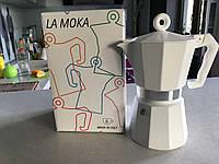 Гейзерная кофеварка LA MOKA  6 чашек (белая)