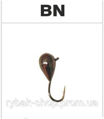 Мормышка вольфрамовая капля с ушком, цвет чёрный никель