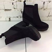 Женские зимние ботинки челси натуральная кожа, замша