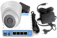 Комплект IP камеры видеонаблюдения Hikvision DS-2CD1302-I с блоком питания, роутером для облачного сервиса