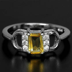 Цитрин желто-оранжевый, серебро 925, кольцо, 234КЦ
