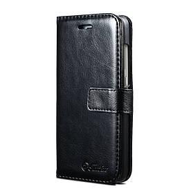 Чехол книжка для Xiaomi Redmi PRO боковой с отсеком для визиток, Гладкая кожа TOMKAS Черный