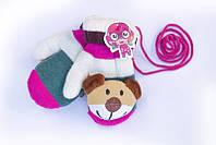 Детские варежки с мягкой игрушкой махровый утеплитель