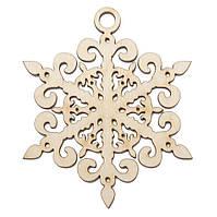 """Новогодняя деревянная елочная игрушка заготовка Снежинка подвеска """"Загадка"""""""