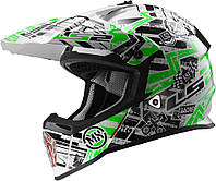 Шлем LS2 MX437 FAST GLITCH, WHITE BLACK GREEN, S