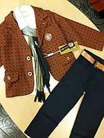 Костюм для мальчика пиджак+брюки+рубашка+шарф