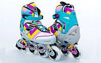 Роликовые коньки детские ZELART ABSTRACT (PL, PVC,колесо PU,алюм. рама,голубые)