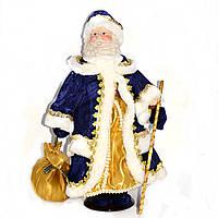 Дед Мороз в тёмно-синей шубе с белым мехом (40 см.)