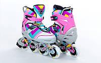 Роликовые коньки детские ZELART ABSTRACT (PL, PVC,колесо PU,алюм. рама,светло-розовые)