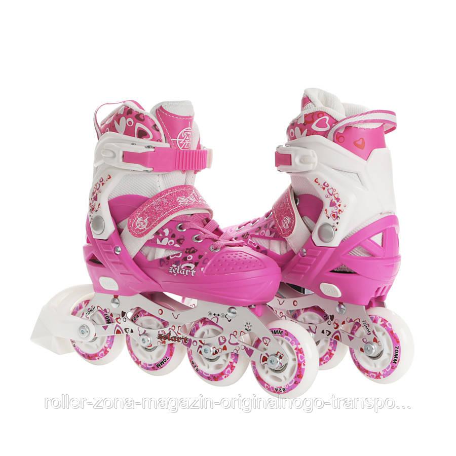 Роликовые коньки детские ZELART HEARTFUL (PL, PVC, колесо PU, алюм. рама, розовый)