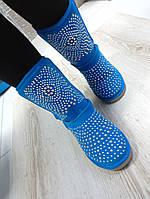 Теплые зимние женские угги с заклепками, голубые
